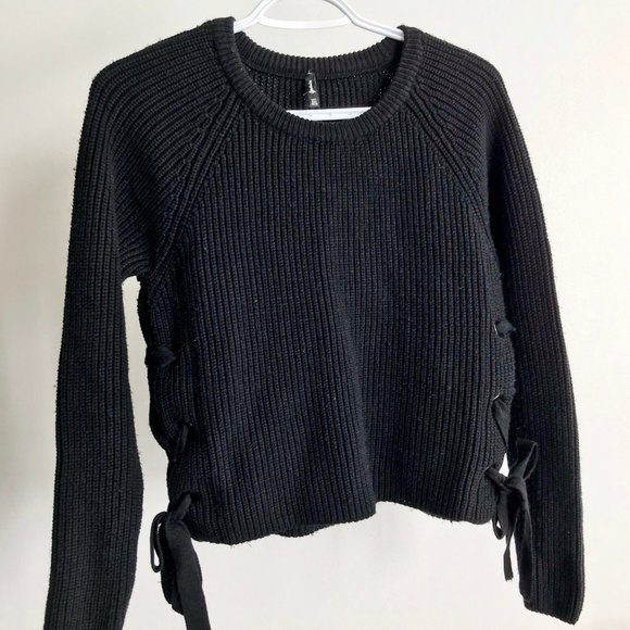 stradivarius Sweaters - Black Sweater with Lace Up Side Slits